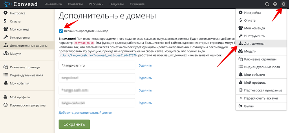 Добавление дополнительных доменов в Convead