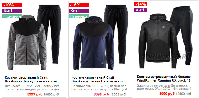 Костюмы CRAFT Breakaway Jersey и Noname WindRunner